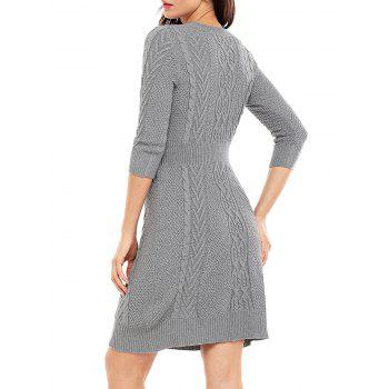 Crew Neck Cable Knitted Mini Dress - GRAY GRAY
