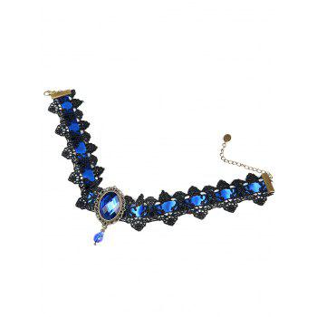 Gothic Faux Gem Oval Lace Choker Necklace - BLUE