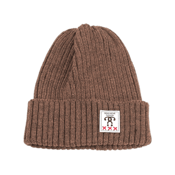 Outdoor Letter Label Decorated Flanging Knitted Beanie - COFFEE