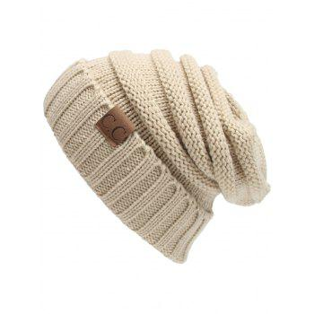 Outdoor CC Label Embellished Flanging Knitted Slouchy Beanie