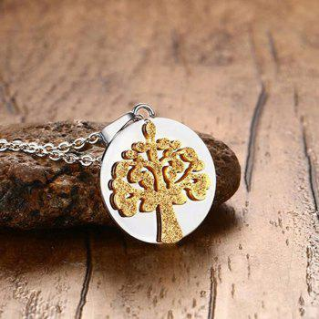 Stainless Steel Round Tree of Life Pendant Necklace -  GOLDEN