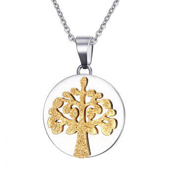 Stainless Steel Round Tree of Life Pendant Necklace - GOLDEN GOLDEN