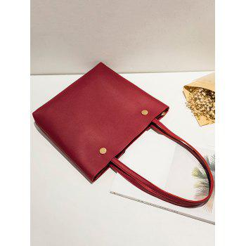 Studs PU Leather Shoulder Bag - RED RED