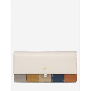 Faux Pearl Color Block Striped Wallet - CARD APRICOT CARD APRICOT