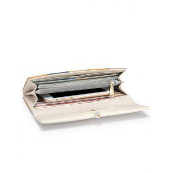 Faux Pearl Color Block Striped Wallet - CARD APRICOT