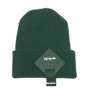 Square Letter Label Embellished Crochet Knitted Beanie - GREEN