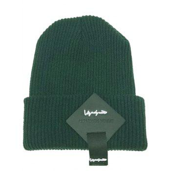 Square Letter Label Embellished Crochet Knitted Beanie - GREEN GREEN