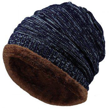 Velvet Colormix Pattern Crochet Knitted Slouchy Beanie - CADETBLUE CADETBLUE