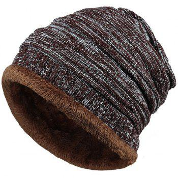 Velvet Colormix Pattern Crochet Knitted Slouchy Beanie - COFFEE COFFEE