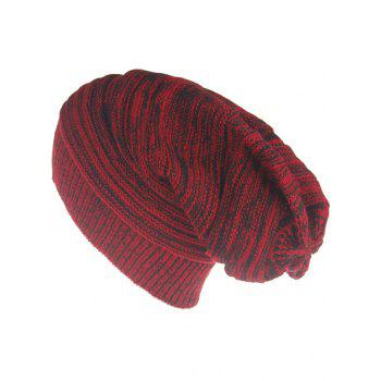Outdoor Colormix Striped Pattern Thicken Knitted Beanie Hat - RED RED