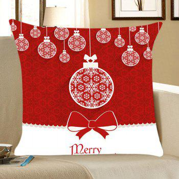 Christmas Balls Print Linen Throw Pillow Case - RED AND WHITE RED/WHITE