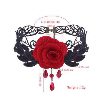 Gothic Flower Knitted Leaf Choker Necklace - RED