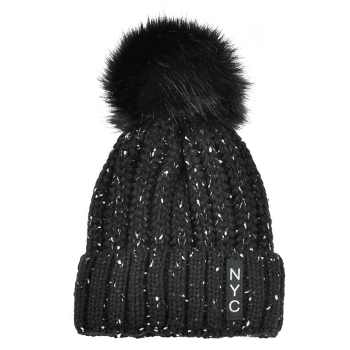 Letter Pattern Embellished Fuzzy Ball Knitted Beanie - BLACK