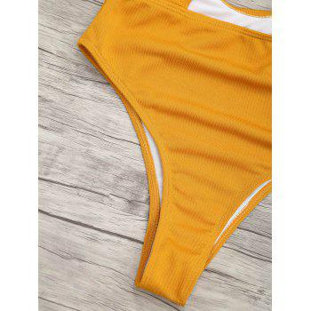 Ribbed Knot Backless One Piece Swimsuit - MUSTARD MUSTARD