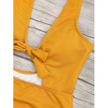 Ribbed Knot Backless One Piece Swimsuit - MUSTARD S