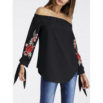 Floral Embroidered Off The Shoulder Tunic Blouse - BLACK S