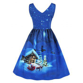 Christmas Vintage Snowflake Cottage Print Dress - CERULEAN 2XL