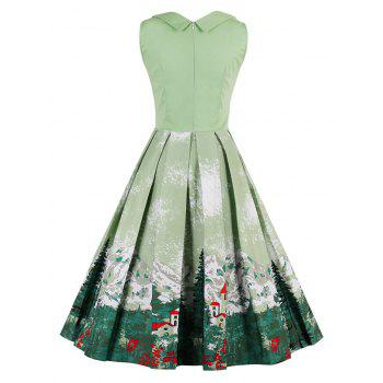 Vintage Forest Print Ruched Christmas Pin Up Dress - PISTACHIO M
