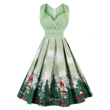 Vintage Forest Print Ruched Christmas Pin Up Dress
