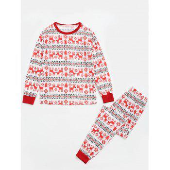 Reindeer Pattern  Matching Family Christmas Pajama Sets - RED RED