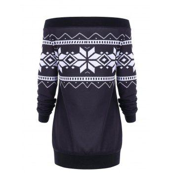 Plus Size Snowflake Geometric Skew Neck Pullover Sweatshirt - SMASHING XL