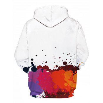 Colorful Paint Splatter 3D Print Pullover Hoodie - RED XL