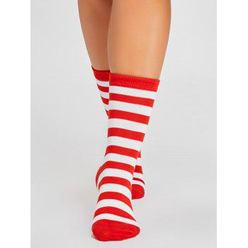Pair of Striped Pattern Color SpliceTube Socks - RED/WHITE
