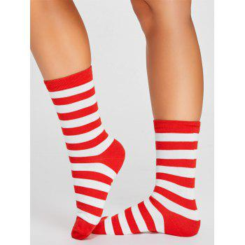 Pair of Striped Pattern Color SpliceTube Socks - RED WITH WHITE RED/WHITE