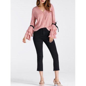 V Neck Layered Bell Sleeve Pullover Sweater - PINK L