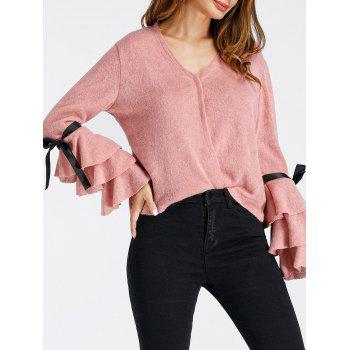 V Neck Layered Bell Sleeve Pullover Sweater - PINK XL