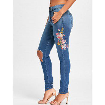 Floral Embroidery Ripped Denim Jeans - BLUE L