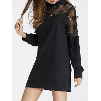 Embroidered Sheer Lace Panel Mini Hoodie Dress - BLACK M