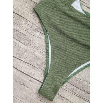 Ribbed Knot Backless One Piece Swimsuit - GREEN GREEN