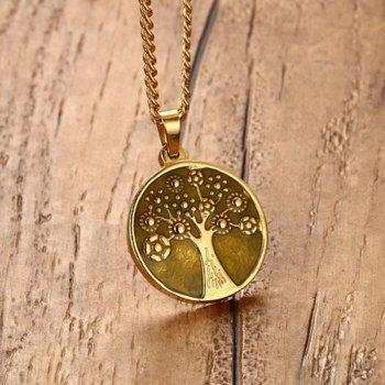 Round Engraved Tree of Life Stainless Steel Necklace -  GOLDEN