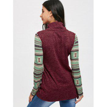 Tribal Print Long Sleeve Heap Collar Top - CLARET M