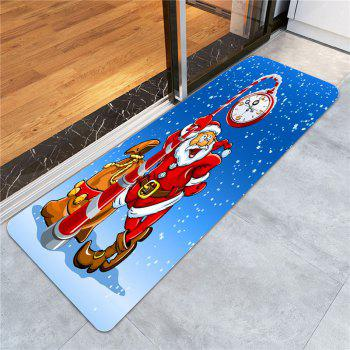 Santa Claus Clock Pattern Antislip Rug - BLUE/RED W24 INCH * L71 INCH
