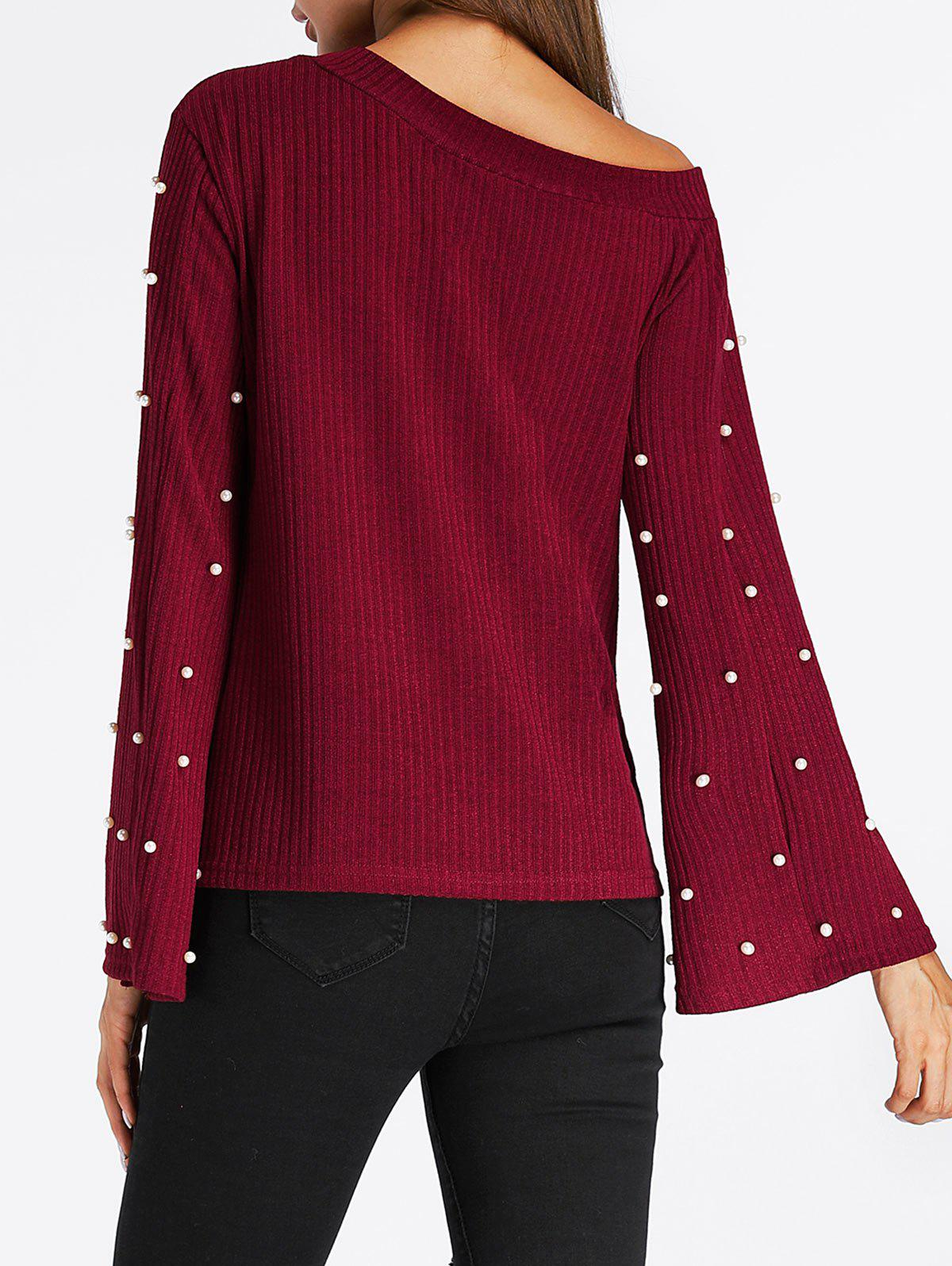 Beaded Bell Sleeve Skew Neck Ribbed Sweater - WINE RED L