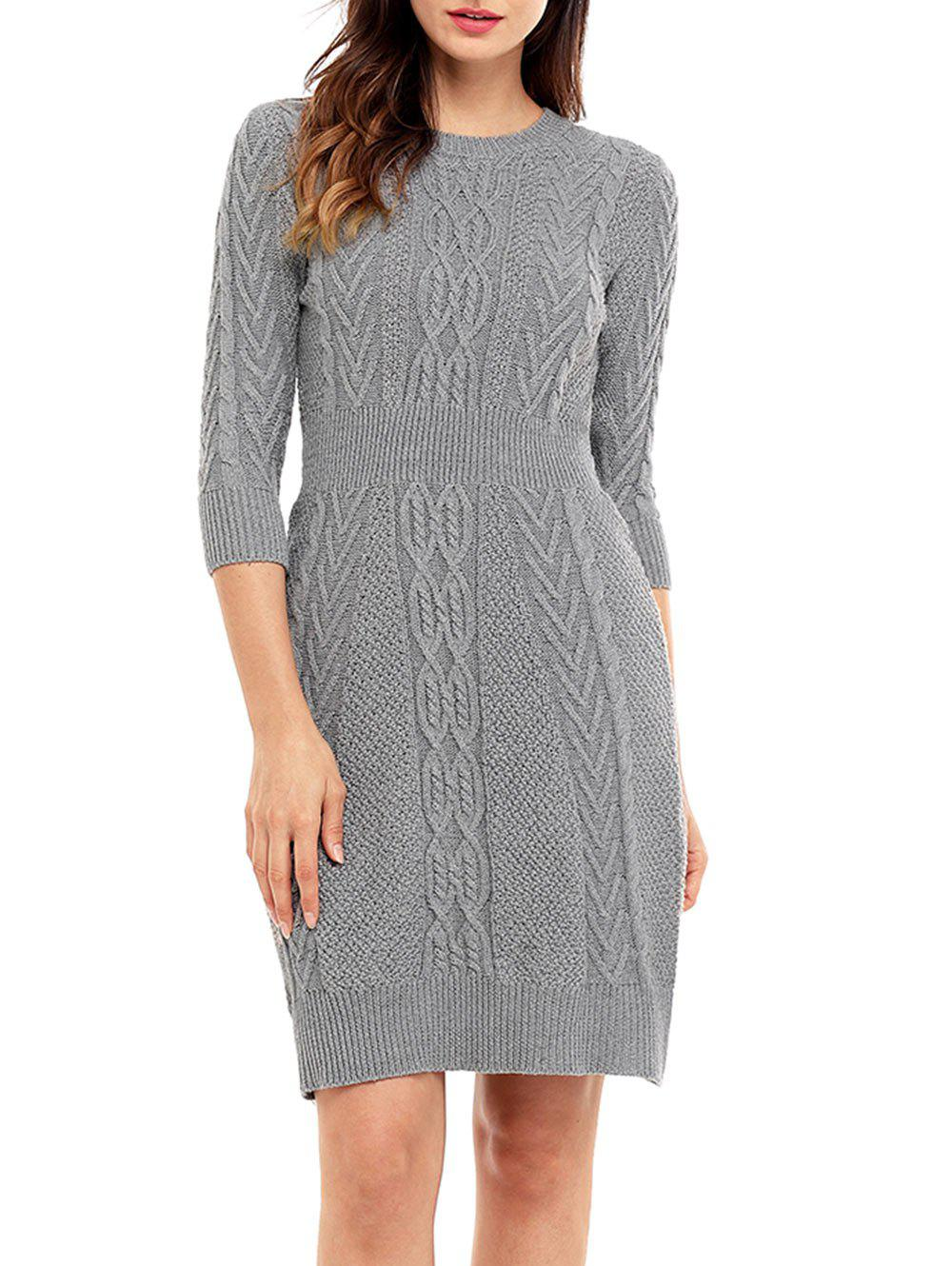 Crew Neck Cable Knitted Mini Dress - GRAY M