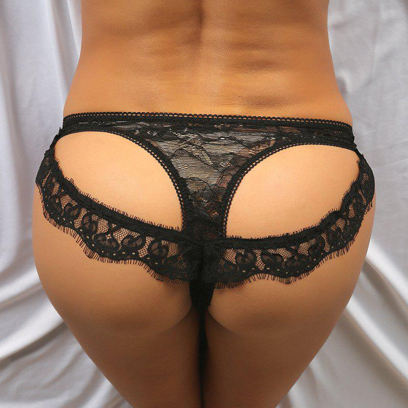 Scalloped See Through Cutout Lace Panties - BLACK M