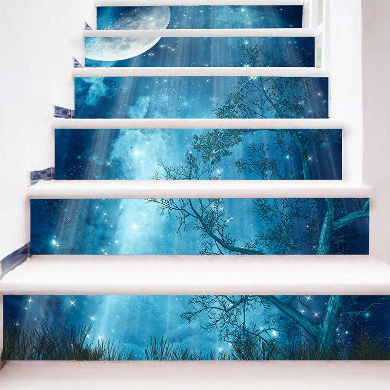 Starry Moon Night Forest Print 3D Stair Stickers - BLUE 6PCS:39*7 INCH( NO FRAME )
