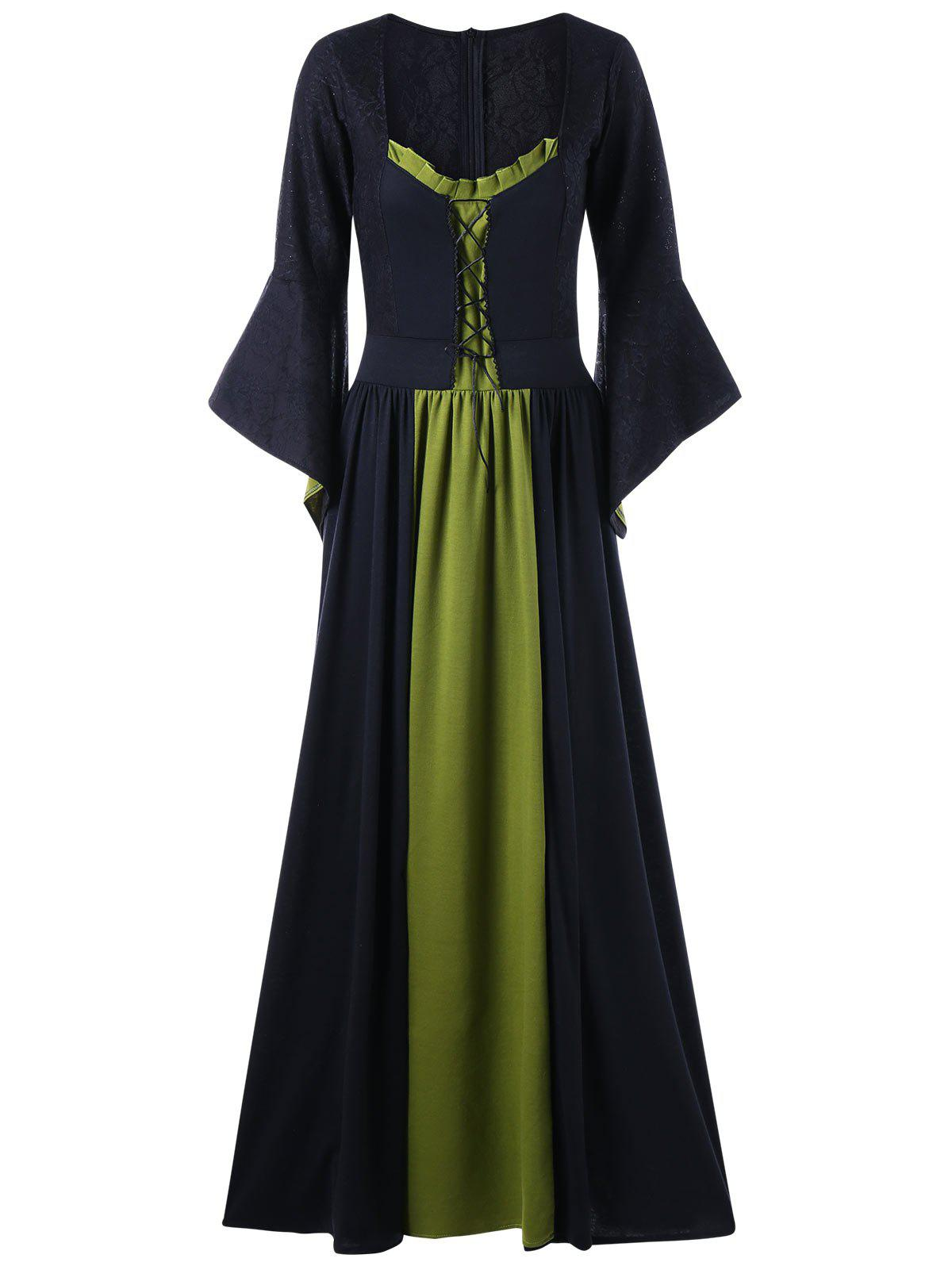 Flounced Bell Sleeve Maxi Evening Dress - PEA GREEN L