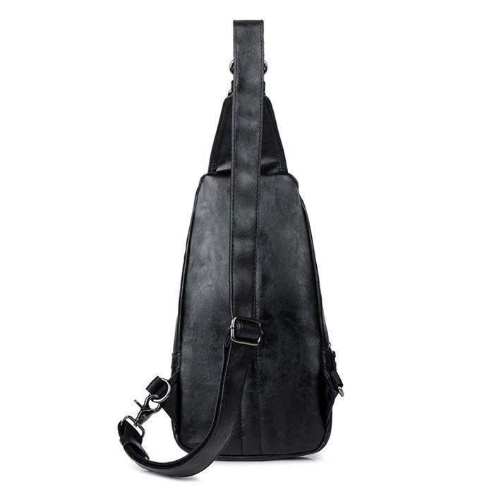 PU Leather Stitching Front Zip Chest Bag - BLACK