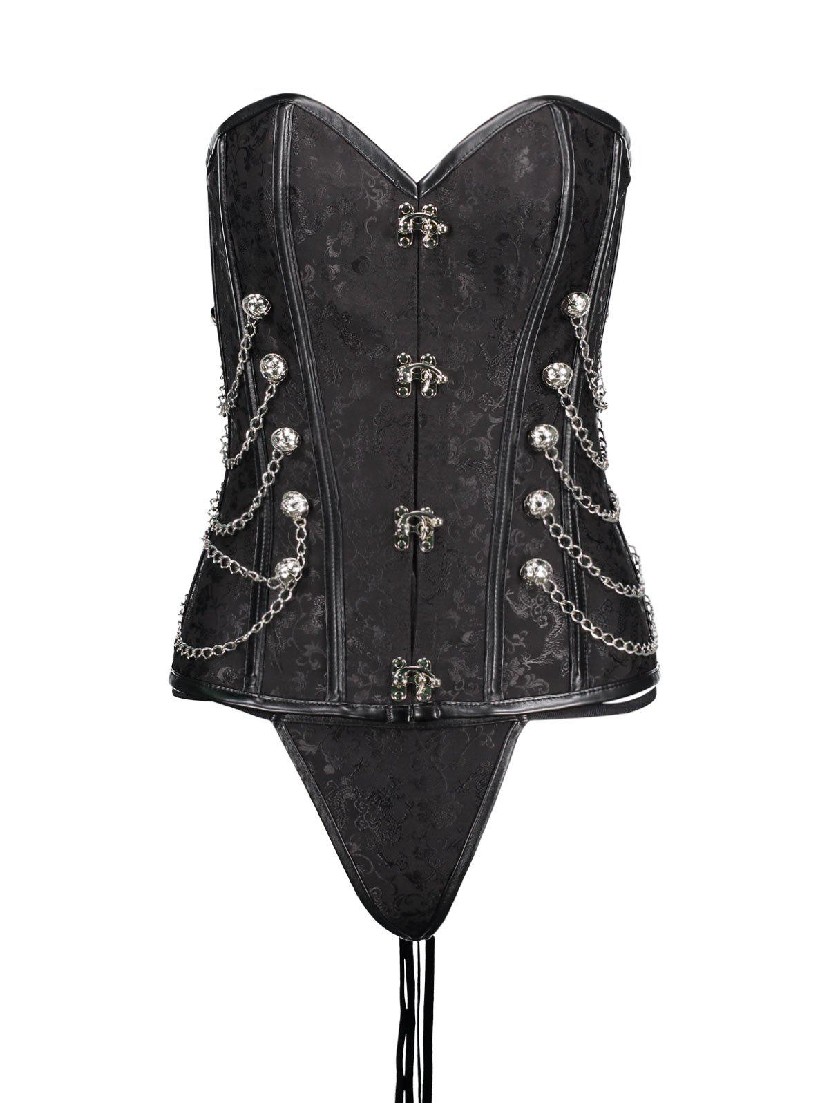 Lace Up Chians Steel Boned Punk Corset Top lace up steam punk halter corset top