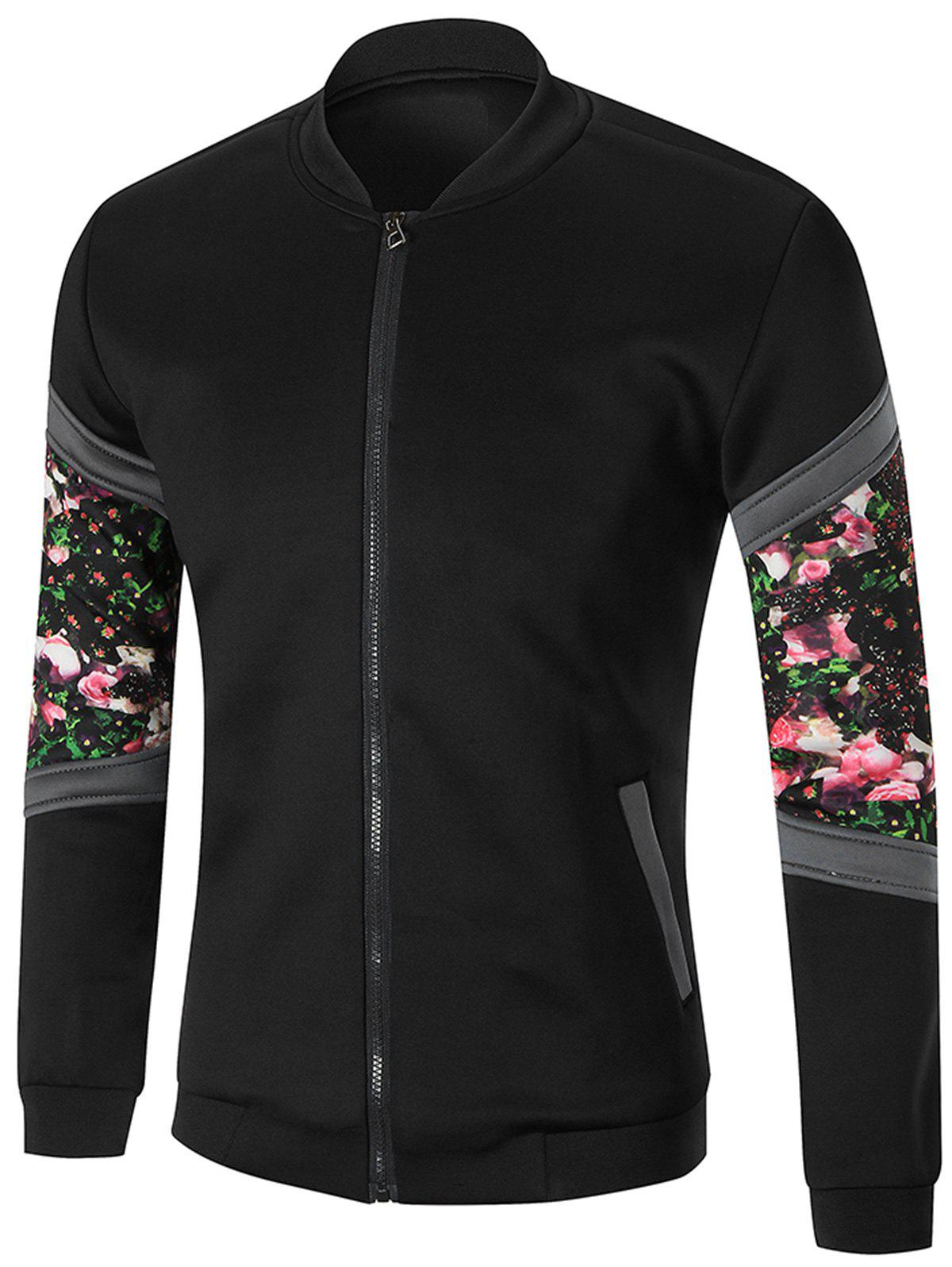 Flower Printed Zip Up Jacket - BLACK 3XL