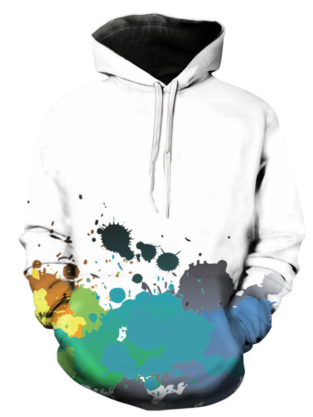 Colorful Paint Splatter 3D Print Pullover Hoodie - BLUE L