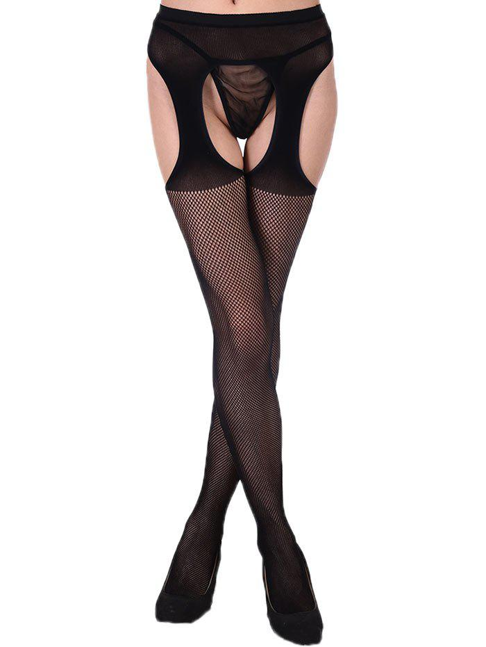 Fishnet Sheer Suspender Tights - BLACK ONE SIZE