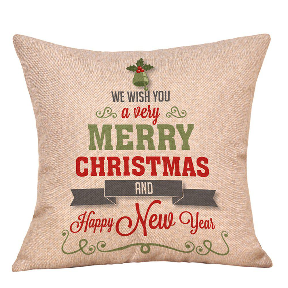 Christmas Greetings Letters Print Linen Sofa Pillowcase - COLORMIX W18 INCH * L18 INCH