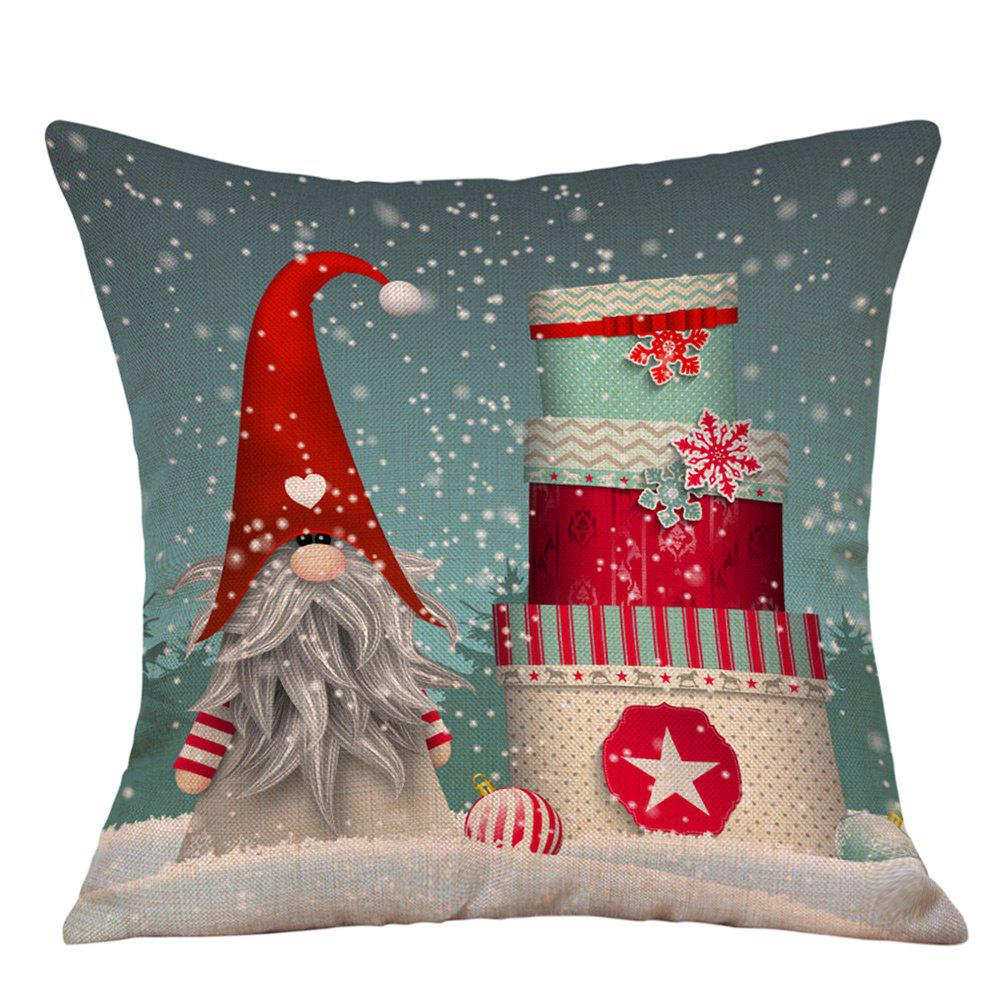 Snowy Christmas Gifts Print Linen Sofa Pillowcase snowy christmas gifts print linen sofa pillowcase