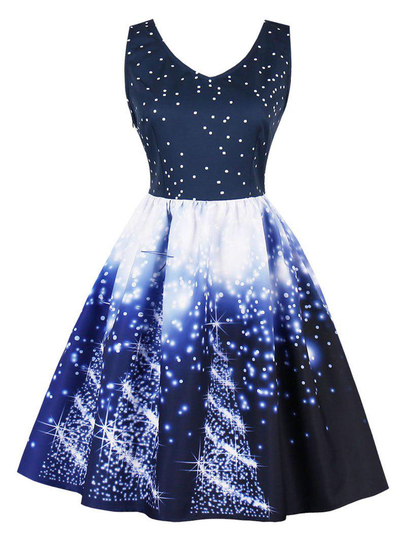 Christmas Vintage Starry Sky Print Skater Dress сумка the cambridge satchel
