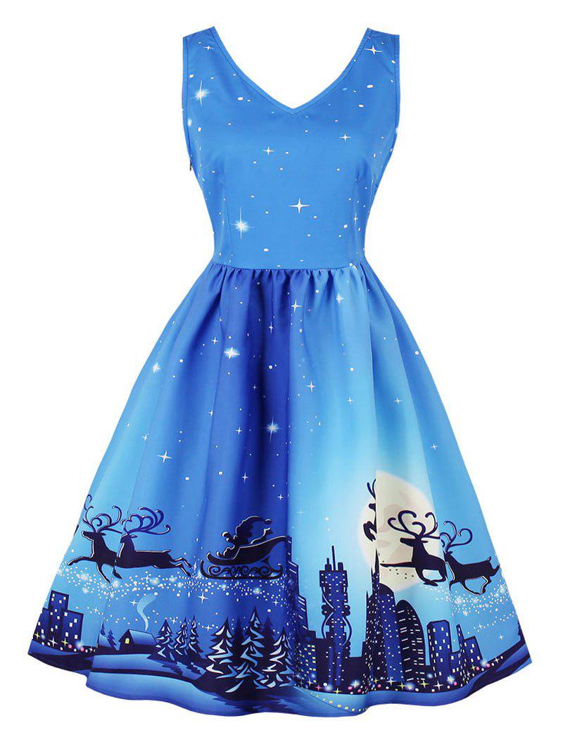 Vintage Starry Sky Elk City Print Christmas Skater Dress - WINDSOR BLUE XL